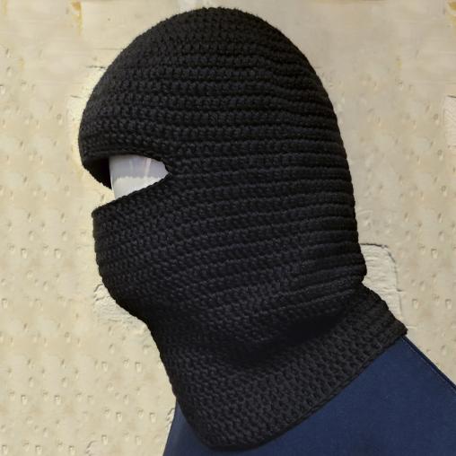 Crochet black face-mask, 100% cotton
