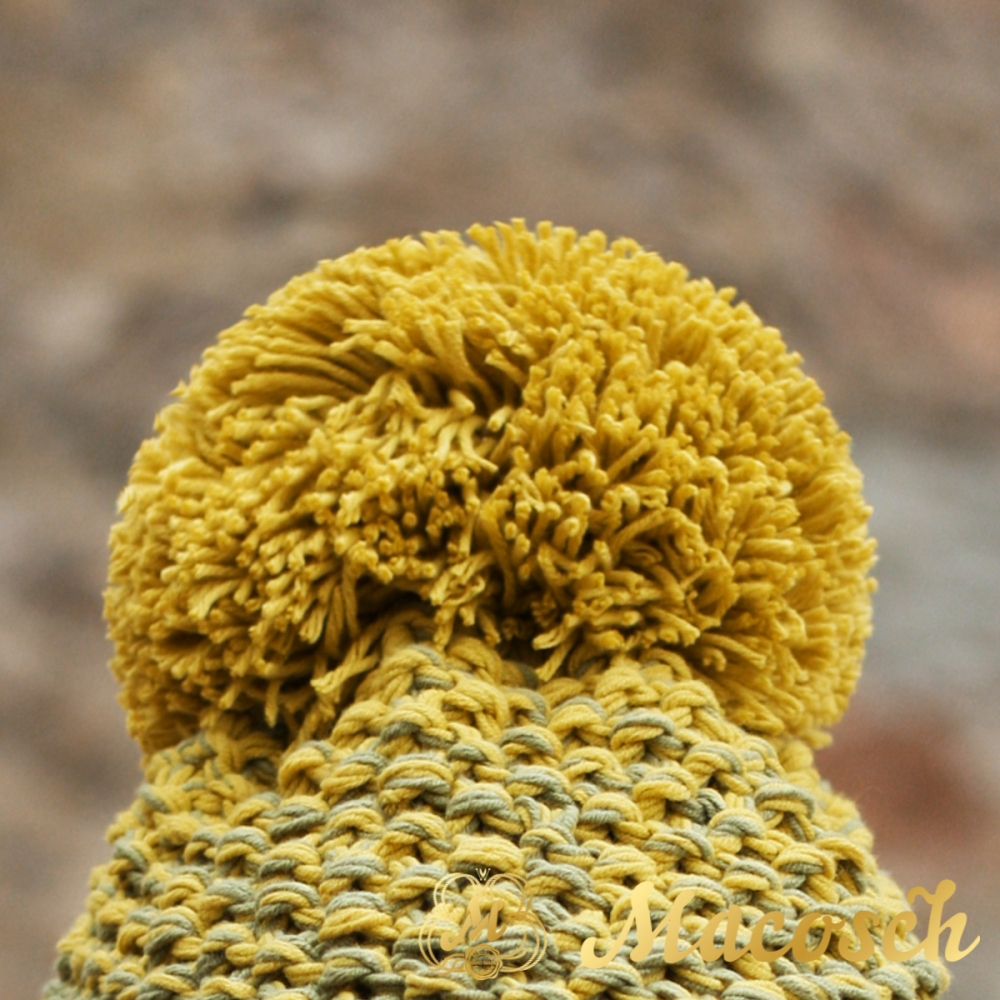 Cotton mustard and olive beanie with pom pom