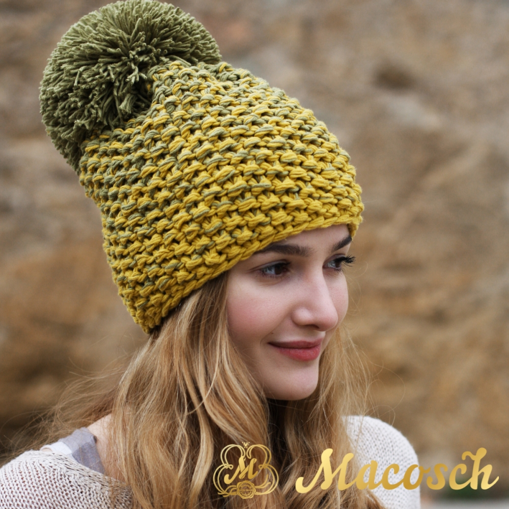 Cotton olive and mustard beanie with pom pom