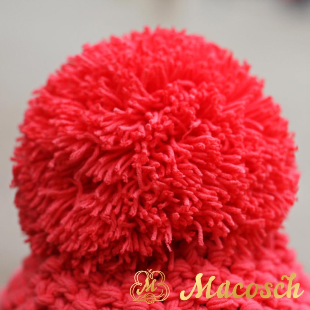 Cotton electric coral beanie with pom pom