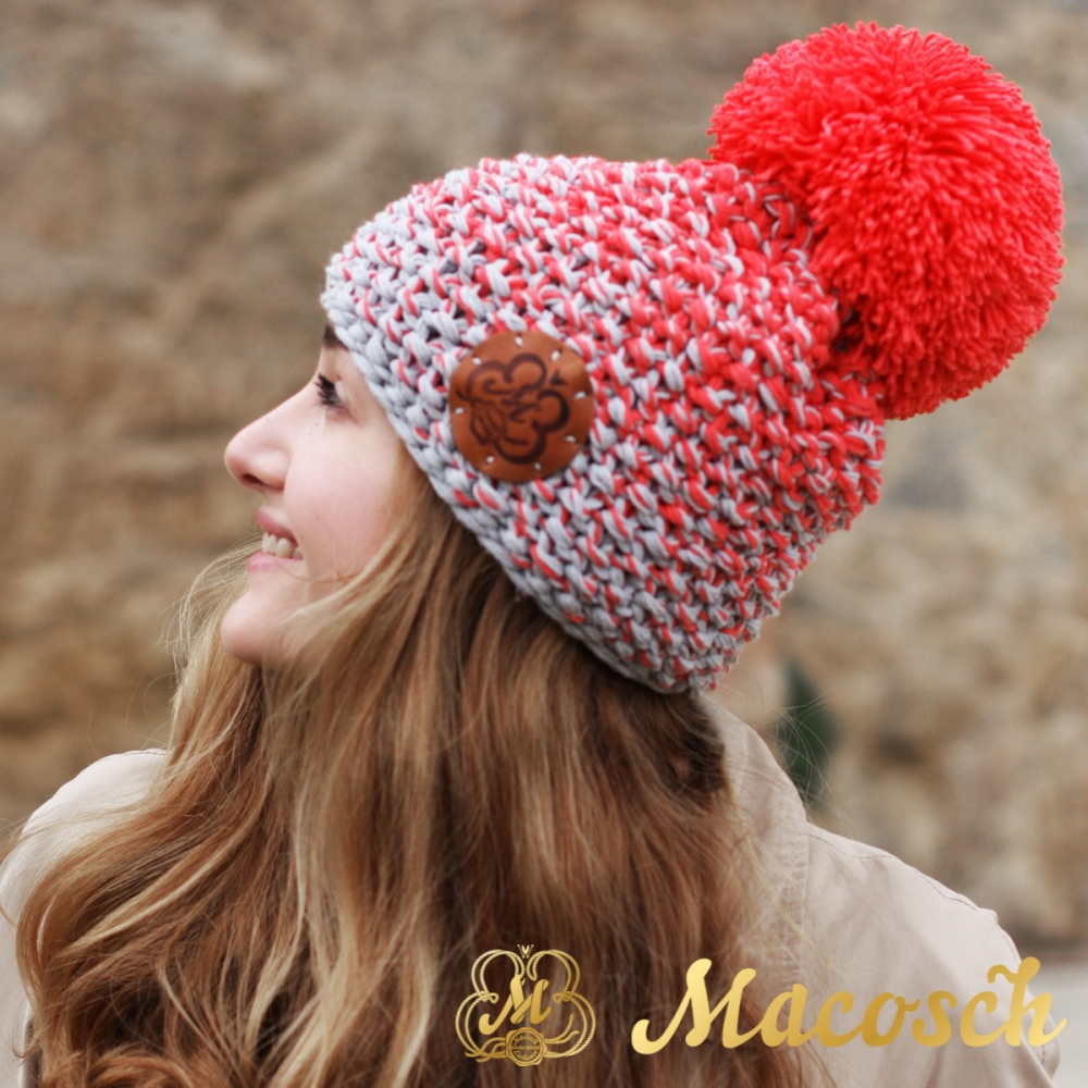 Cotton electric coral and pearl grey beanie with pom pom