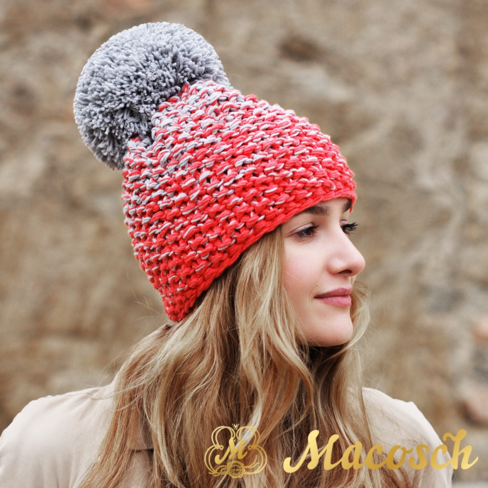 Cotton pearl grey and electric coral beanie with pom pom