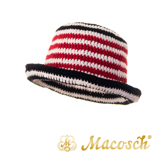Striped knitted summer hat, white & red & black