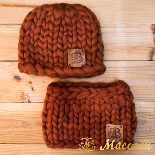 Unisex hat + buff kit, 100% merino wool bulky knit