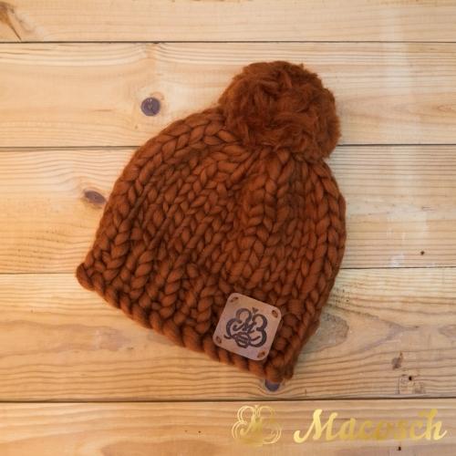 Pom pom hat big loop wool merino 100%
