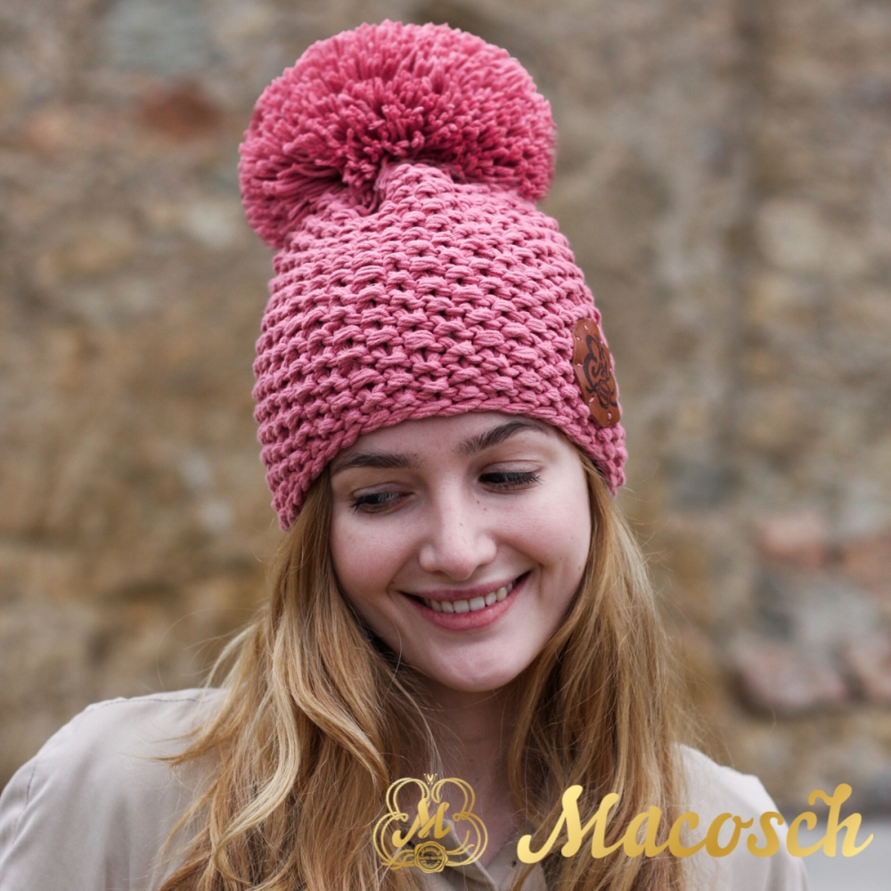Cotton rose beanie with pom pom