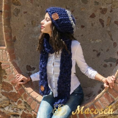Conjunto gorro oversize + bufanda lana gruesa azul