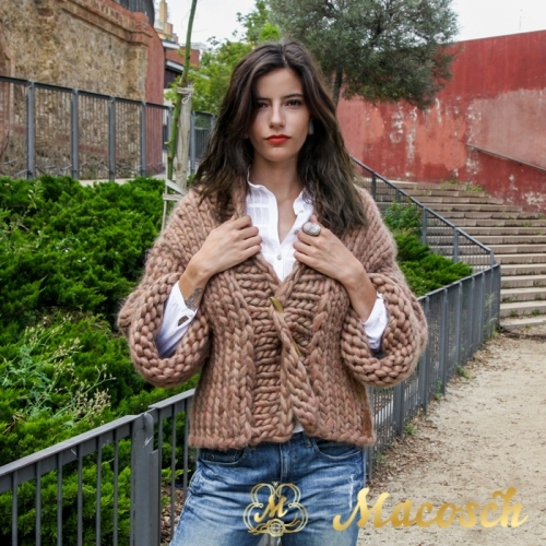 three quarter sleeve open front cardigan - big knit yarn wool