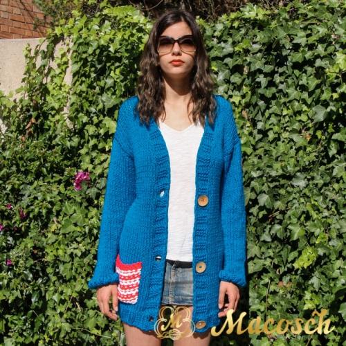 Blue electric v-neck pocket cardigan - cotton