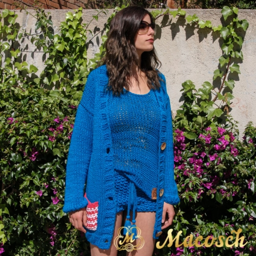 Kit blue electric cardigan + top + shorts - cotton