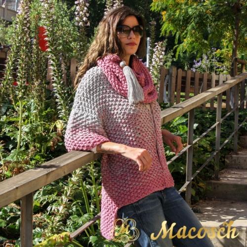 Conjunto chaqueta larga + buff algodón rosa + gris perla