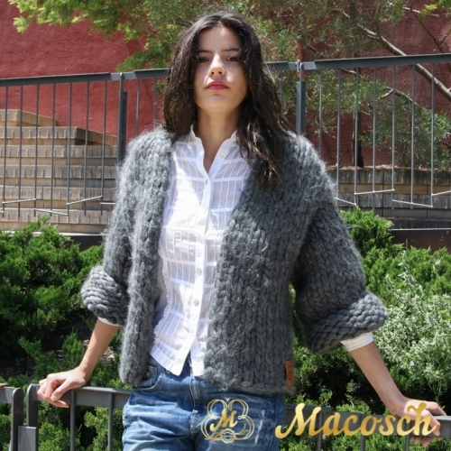 3/4 sleeve open front cardigan - big knit yarn wool