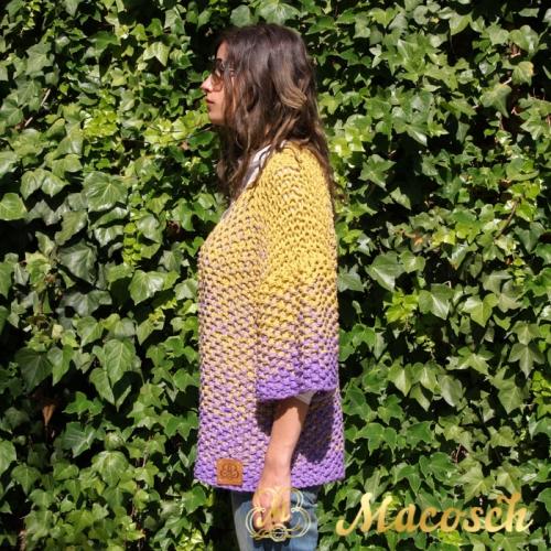 Chaqueta larga mostaza + lila algodón