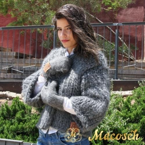 Manoplatas lana 100% gris oscuro