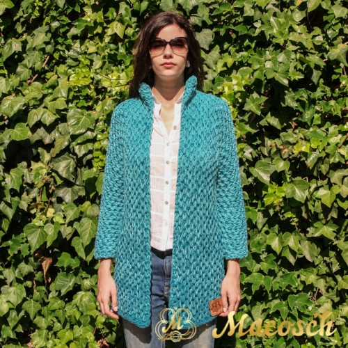 Turquoise open front cardigan - cotton