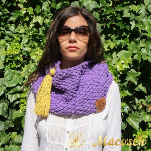 Buff cuello lila con pompon mostaza algodón