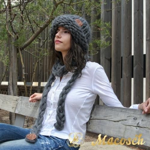 Bufanda trenza punto lana gruesa