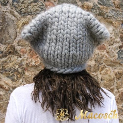 Gorro XXL oversize orejas lana gruesa gris perla