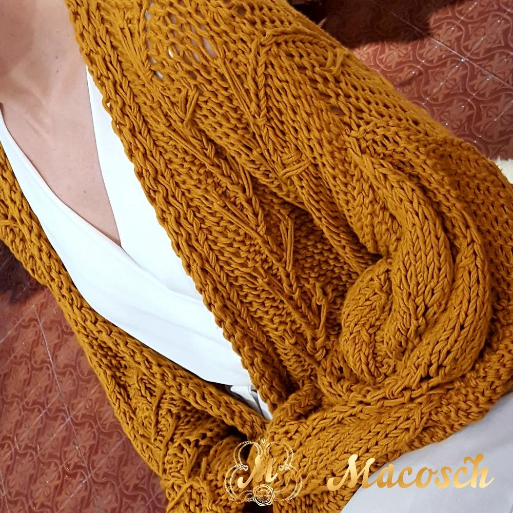 Cardigan AZALIA, ocher.100% cotton long-sleeved short cardigan.