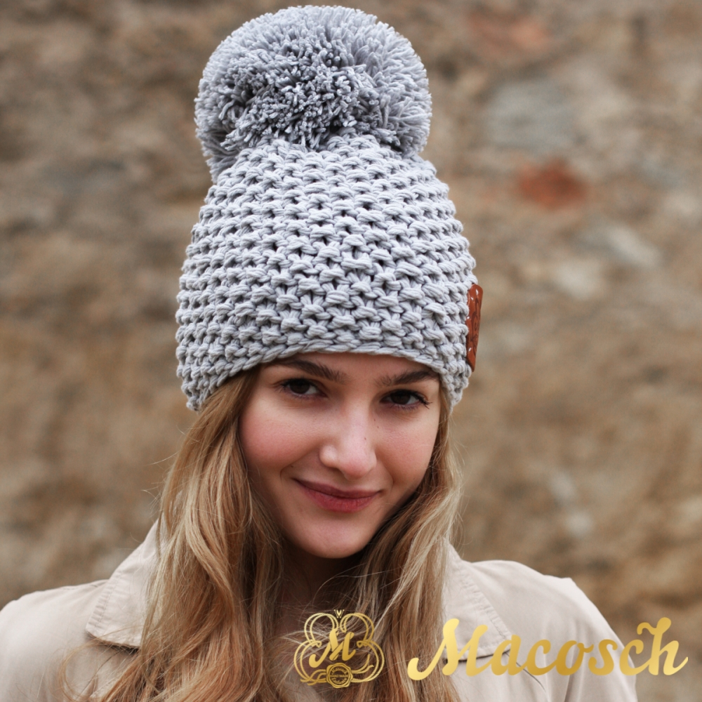 Cotton pearl grey beanie with pom pom