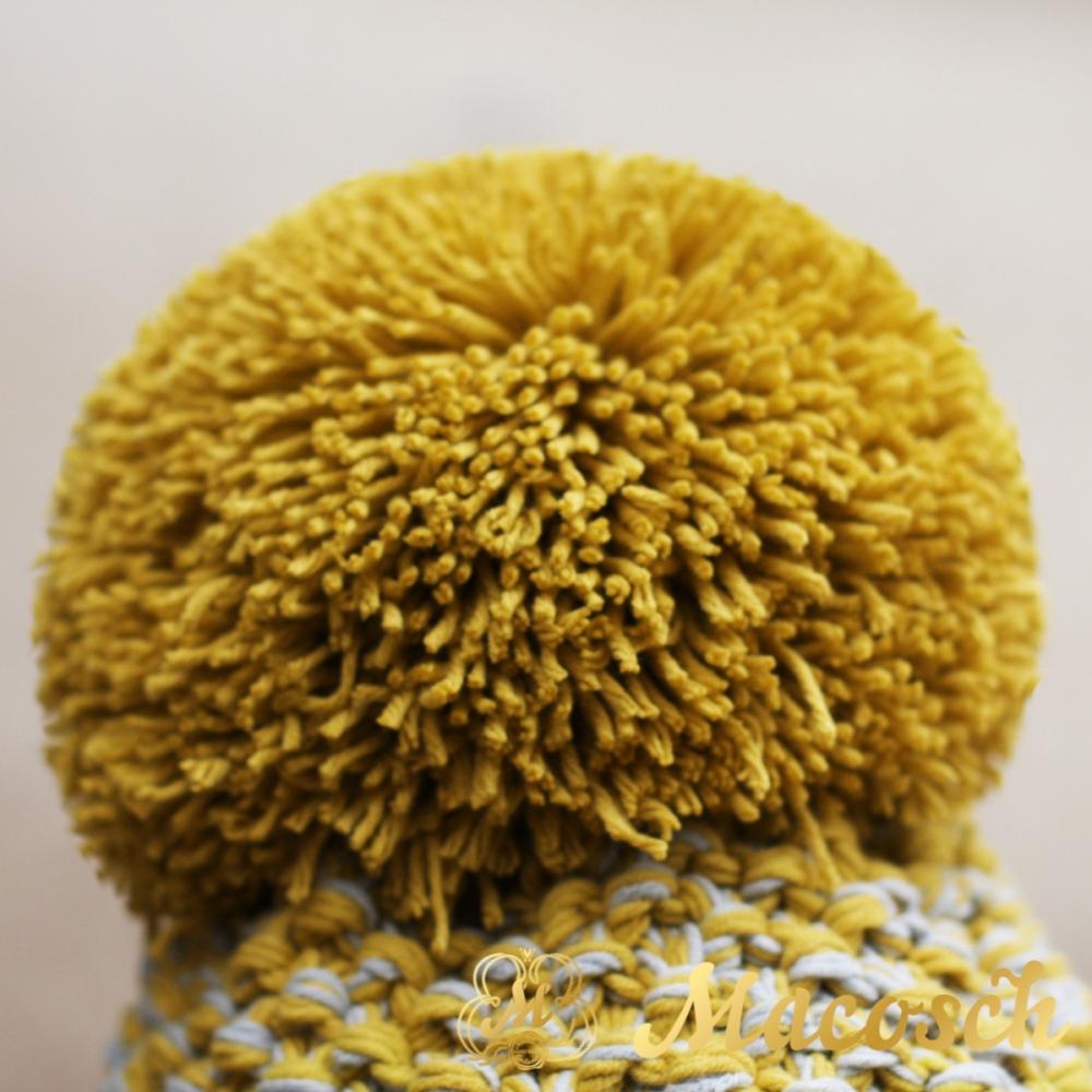 Cotton mustard and grey beanie with pom pom