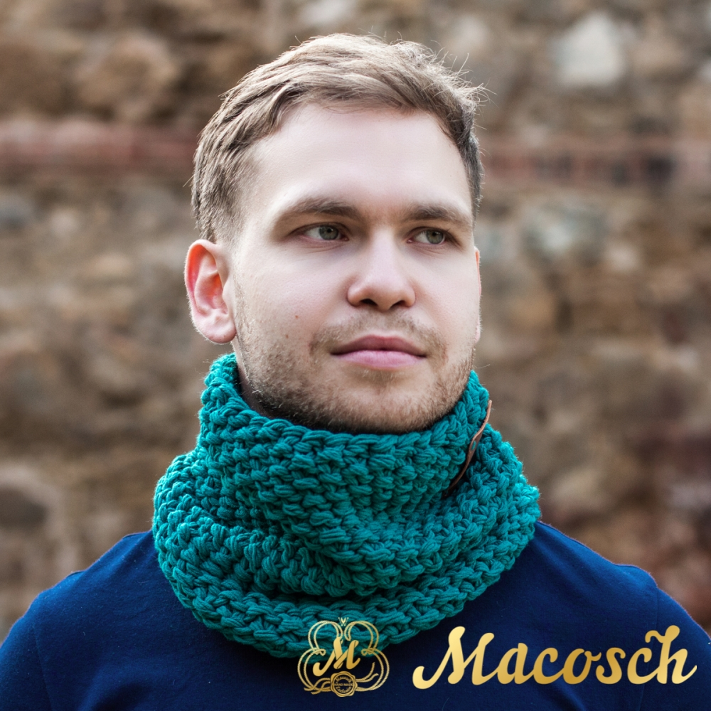 Buff cuello unisex de color esmeralda, algodón