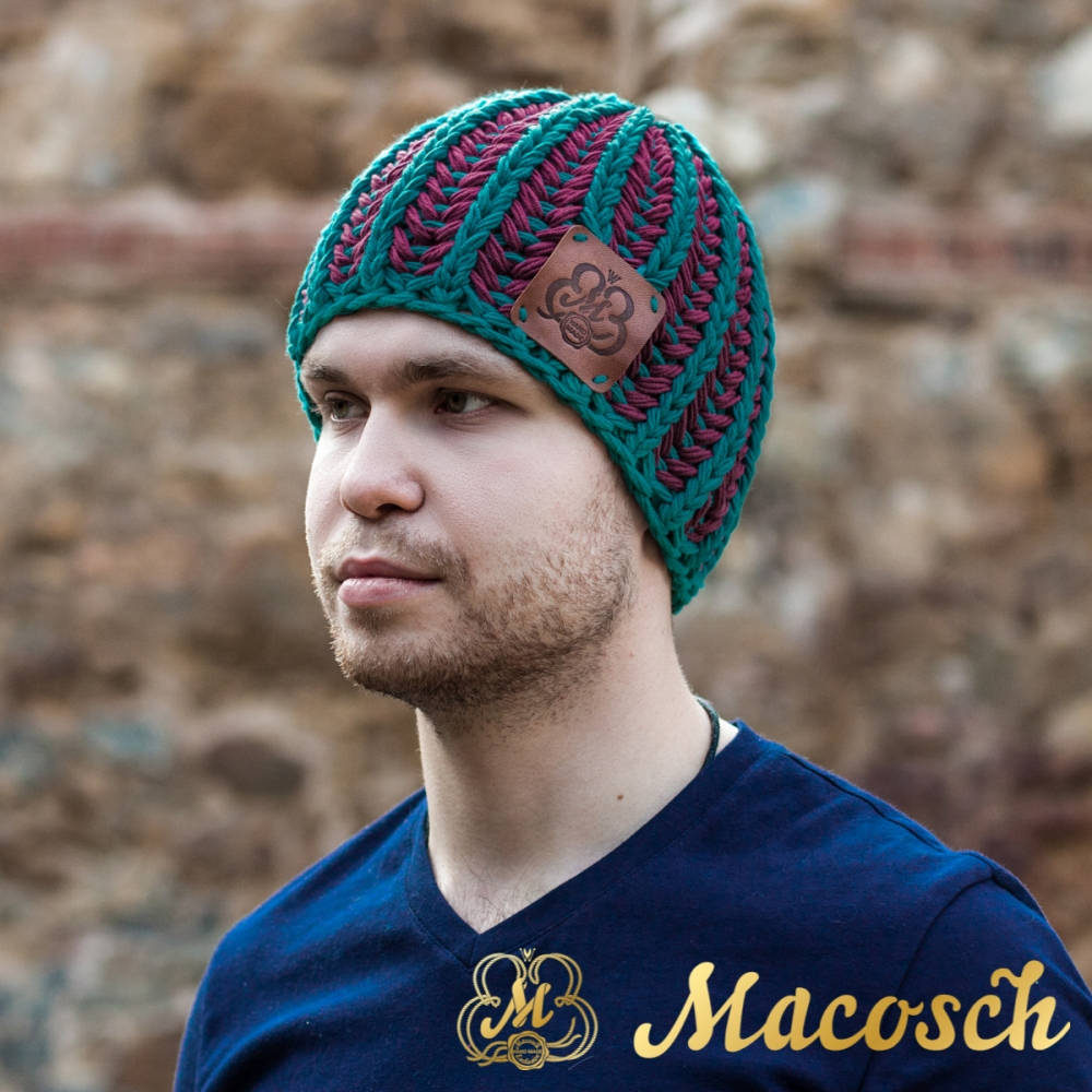 Cotton emerald and purple beanie for men