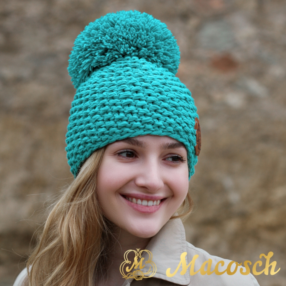Cotton turquoise beanie with pom pom