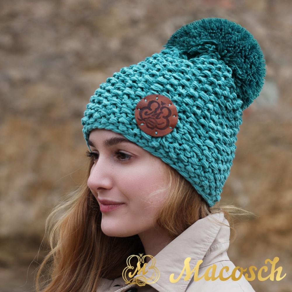 Cotton emerald and turquoise beanie with pom pom