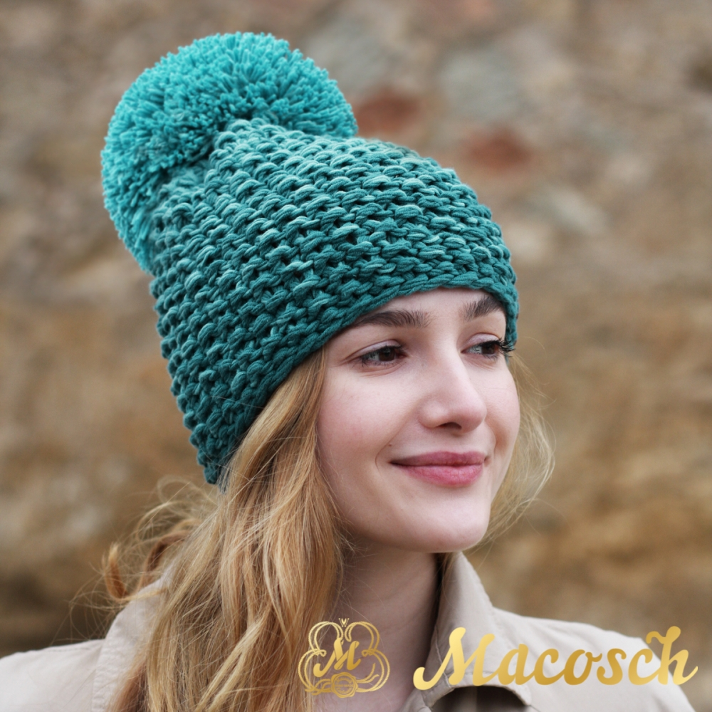 Cotton turquoise and emerald beanie with pom pom