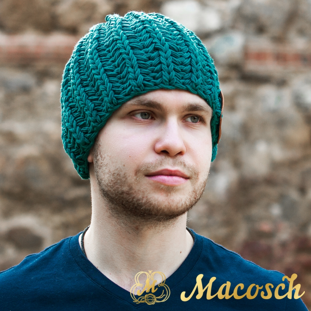 Cotton emerald beanie for men
