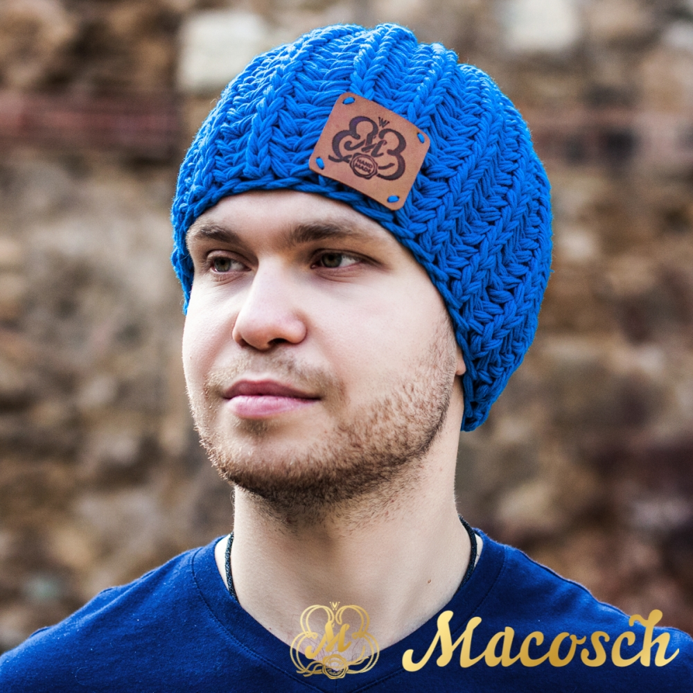 Cotton blue beanie for men