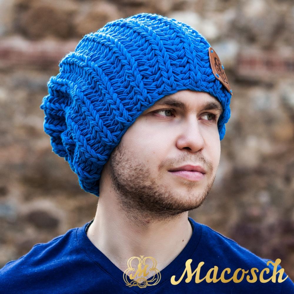 Gorro beanie oversize para hombre de color azul, algodón