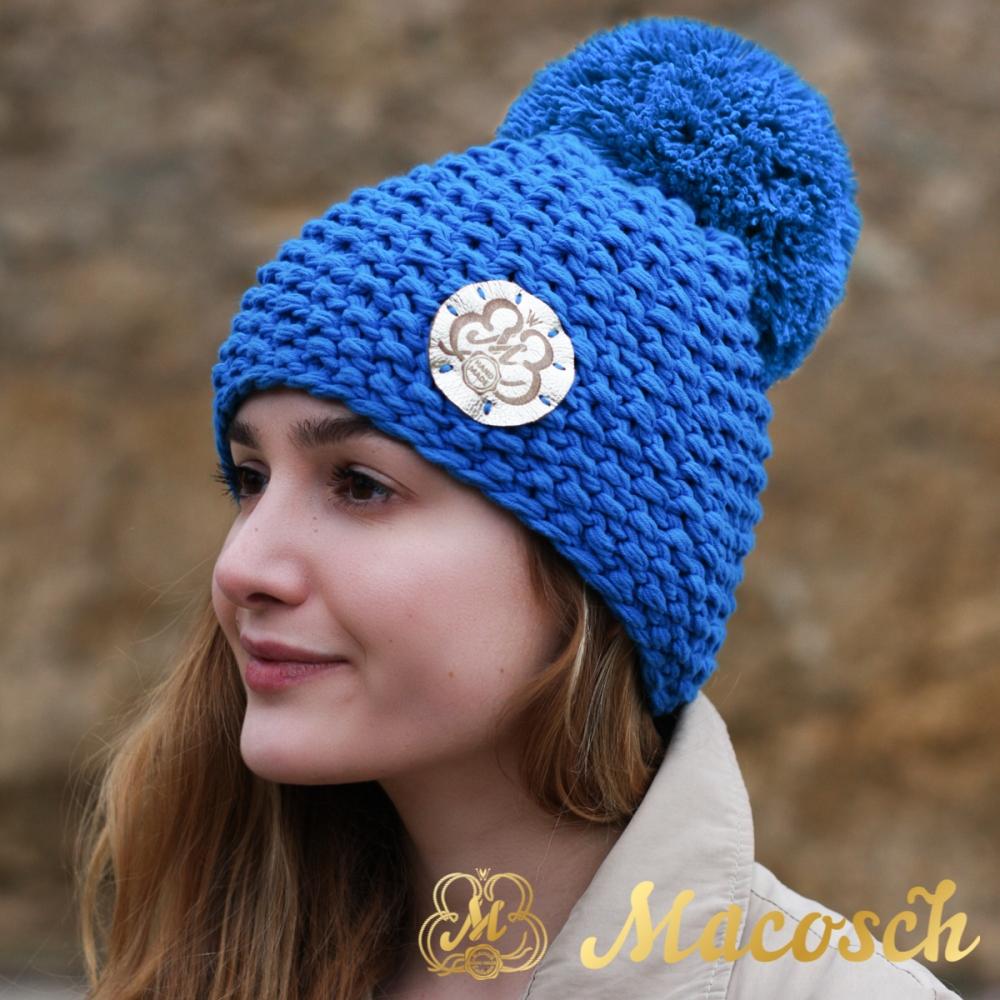 Gorro con pompon para mujer, color azul eléctrico, algodón