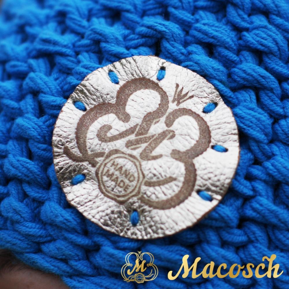 Cotton electric blue beanie with pom pom
