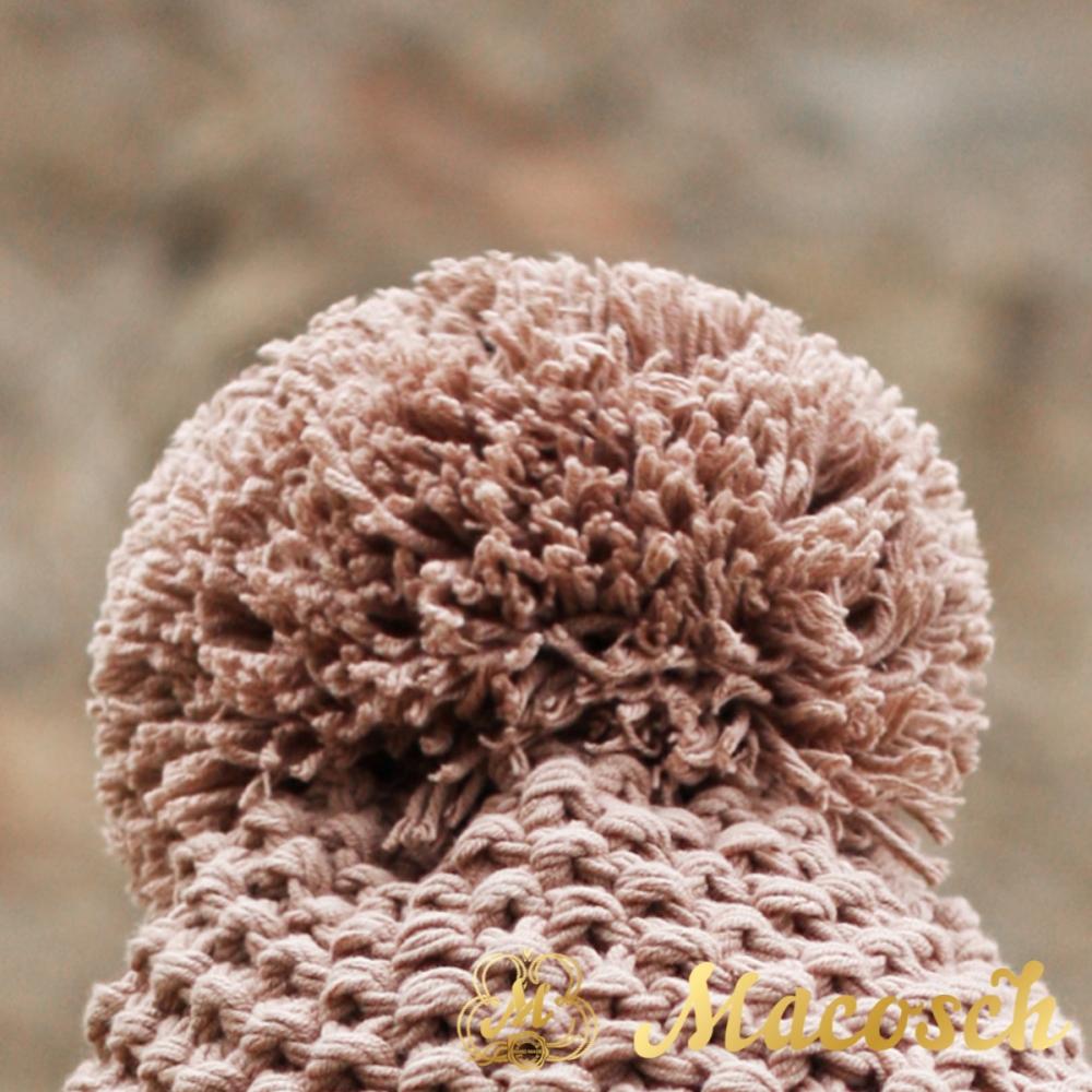 Gorro con pompon para mujer, color beige, algodón