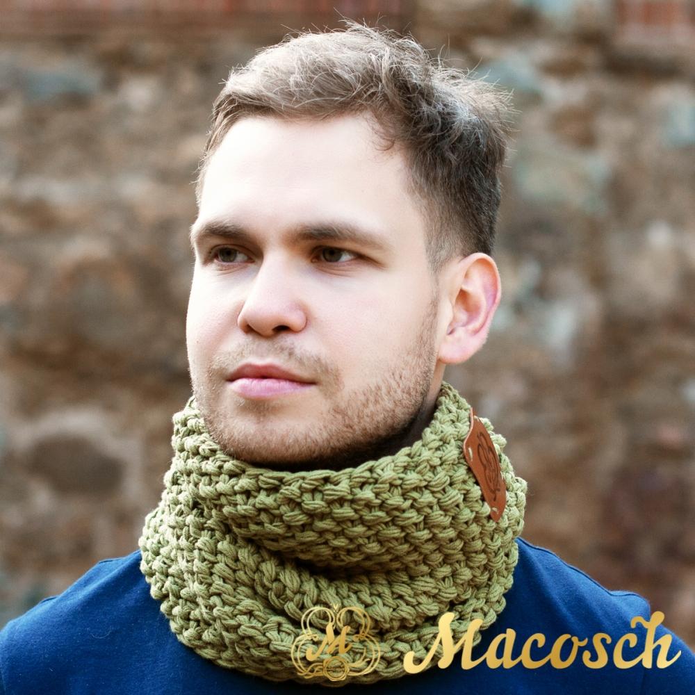 Buff cuello de color oliva unisex algodón