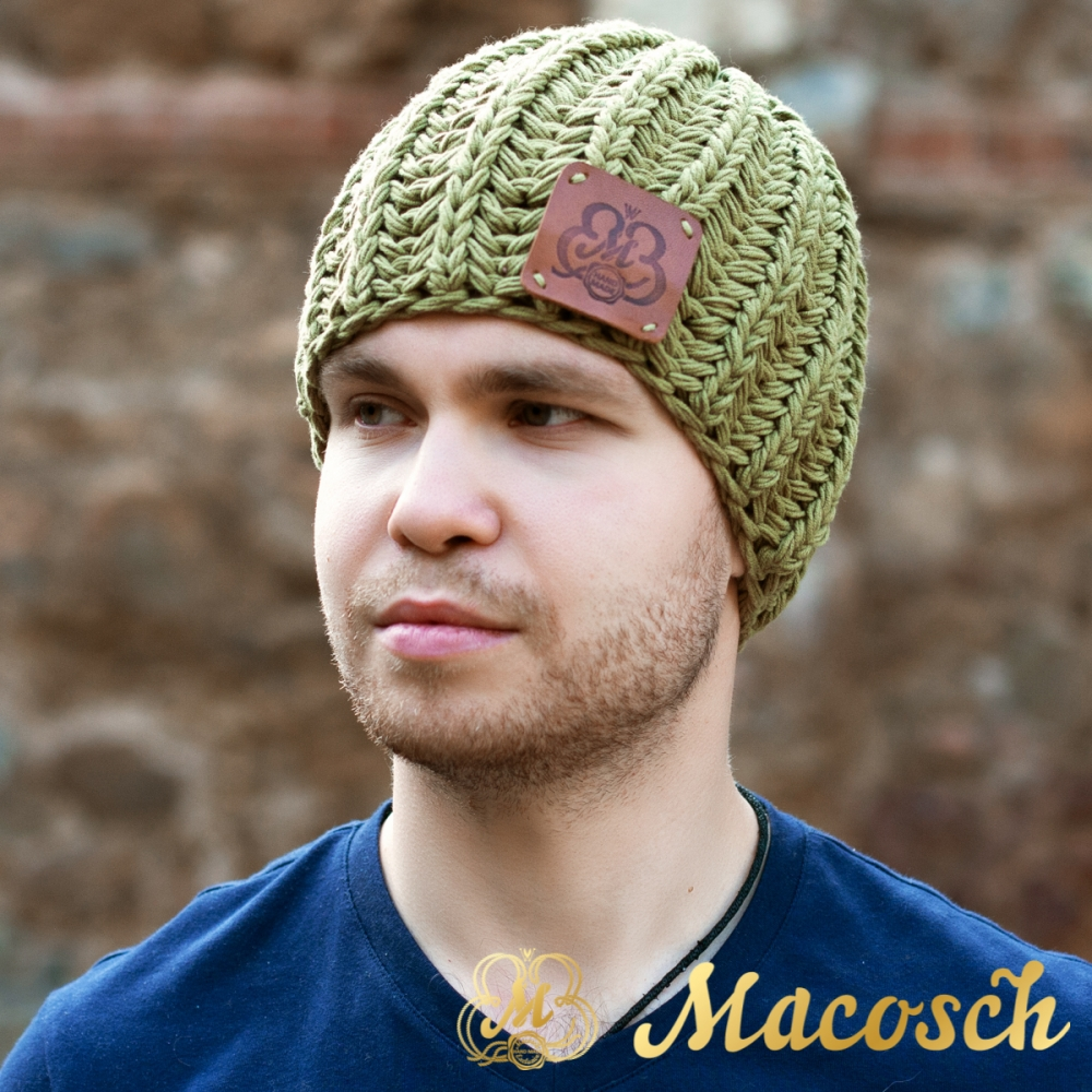 Cotton olive beanie for men