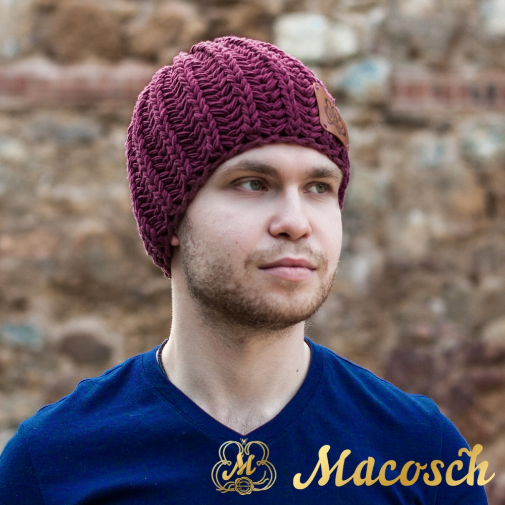 Cotton purple beanie for men