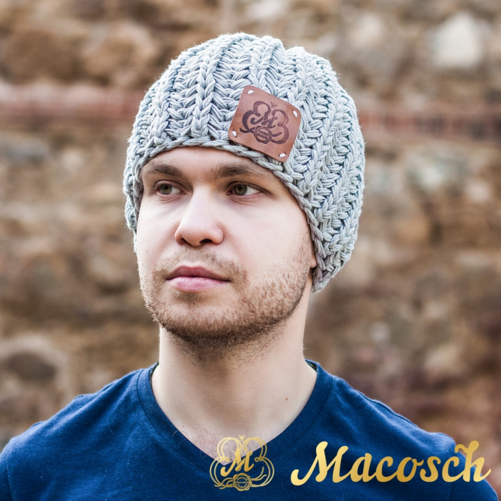 Cotton gray beanie for men