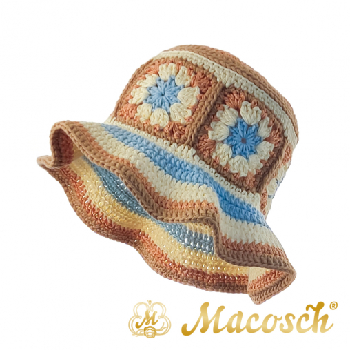 Knitted summer hat, patchwork of flowers, beige