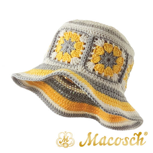 Knitted summer hat, patchwork of flowers, yellow