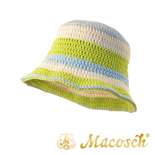 Striped knitted summer hat, green, blue & white