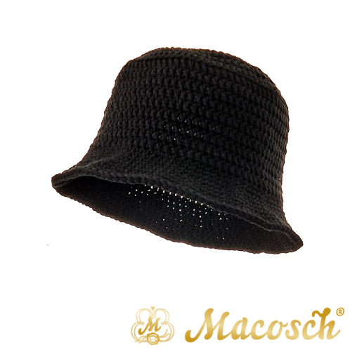 Knitted summer hat, black