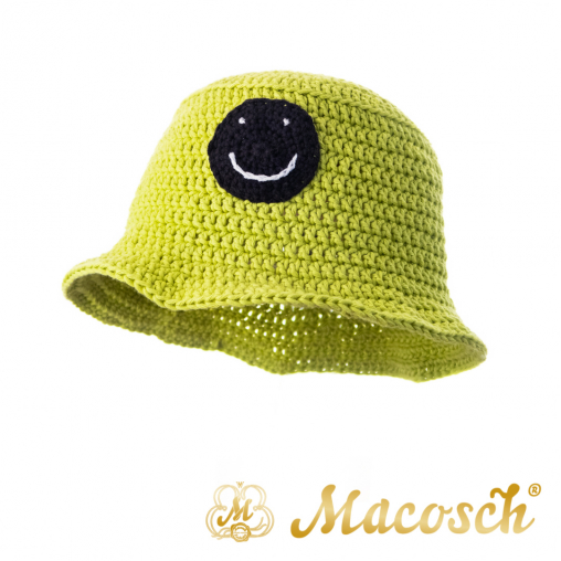 Knitted summer hat with smiley, green