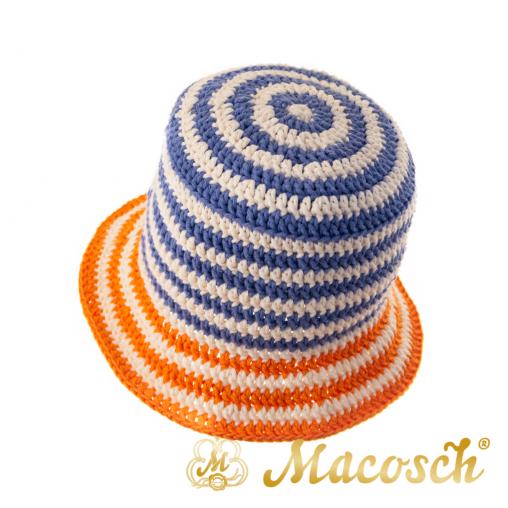 Striped knitted summer hat, white & lavender & orange