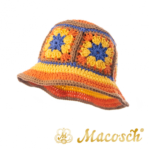 Knitted summer hat, patchwork of flowers, orange