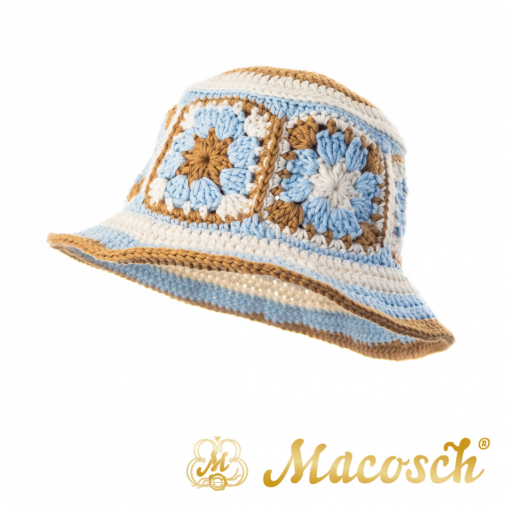 Knitted summer hat, patchwork of flowers, beige & blue