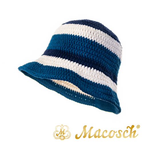 Striped knitted summer hat, blue & white