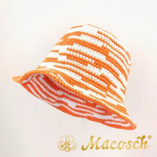 Asymmetrical striped knitted summer hat, white & orange
